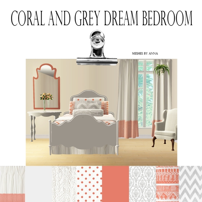 Coral&Grey Bedroom