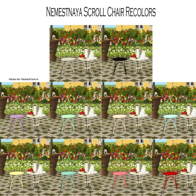Nemestnaya Scroll Chair Recolors